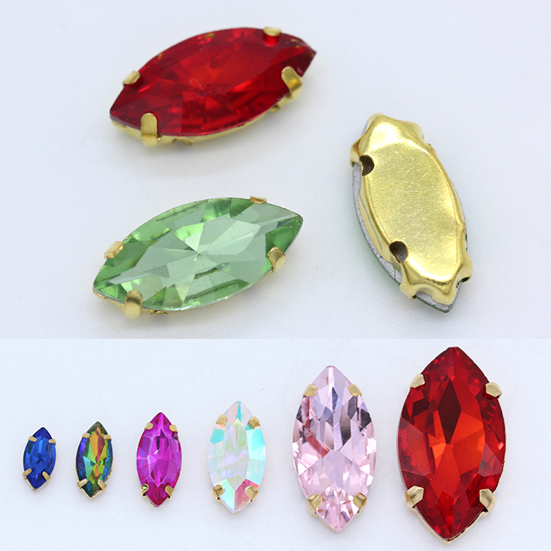 Navette de talla grande/ojo de caballo 24 colores coser cristal piedra de cristal coser diamantes de imitación/diamantes/camisetas/joyas/Cuentas 4 agujeros garra dorada en miniatura