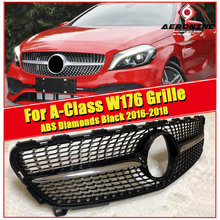 W176 A Class Diamonds grille grill ABS Black Without Sign For MercedesMB A180 A200 A250 A45 look Sports Front grills 2016-2018