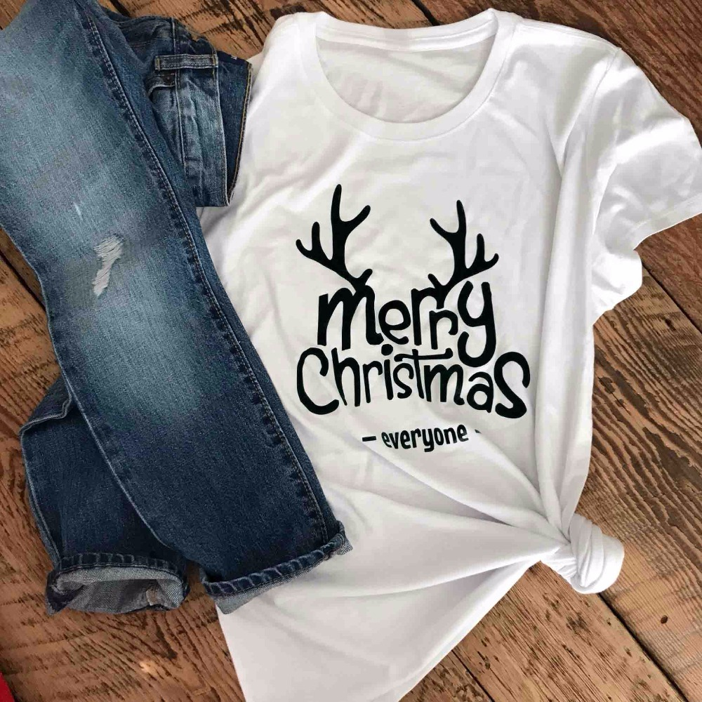 Merry Christmas Everyone T Shirt Slogan Graphic Grunge Tee Casual Stylish Aesthetic  Tops Merry Christmas Trendy shirt Drop Ship-in T-Shirts from Women s ... a7e0f6a39b24