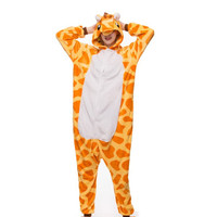 2018 Adult Anime Pajamas Sets Cartoon Sleepwear Women Pajamas Flannel Animal Giraffe Woman Spring And Autumn