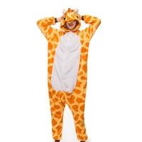 DIKN 2018 Adult Anime Pajamas Sets Cartoon Sleepwear Women Pajamas Flannel Animal Giraffe Woman Spring And