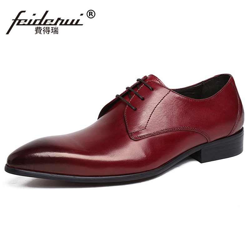 Famous Luxury Man Dress Party Business Shoes Genuine Leather Formal Wedding Oxfords Pointed Toe Derby Men's Bridal Flats UH28 pjcmg spring autumn men s genuine leather pointed toe slip on flats dress oxfords business office wedding for men flats shoes
