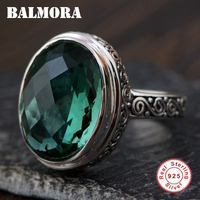 BALMORA 925 Sterling Silver Oval Crystal Rings for Women Men Party Gift Classic Fashion Silver Ring Jewelry Anillos TRS22080