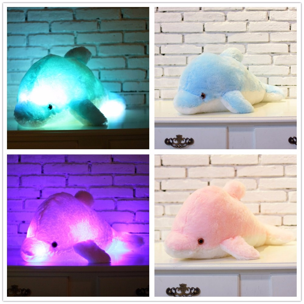 1pc 70cm Creative Luminous Plush Dolphin Doll Glowing Pillow, LED Light Plush Animal Toys Colorful Doll Kids Children's Gift