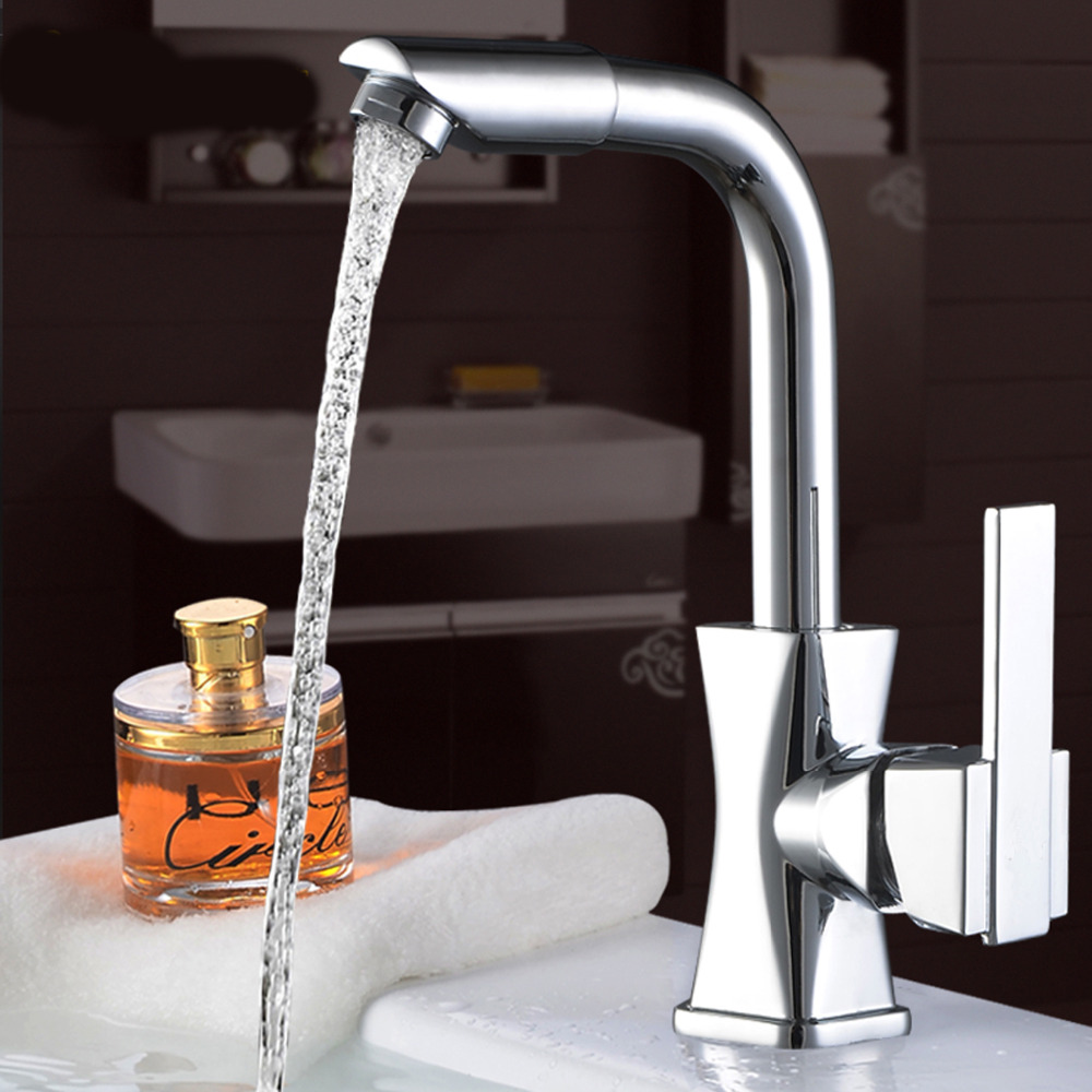 High Quality Single Handle Brass Hot And Cold Basin /Sink Kitchen Faucet Mixer Tap With Two Hose Kitchen Taps Torneira Cozinha new arrival tall bathroom sink faucet mixer cold and hot kitchen tap single hole water tap kitchen faucet torneira cozinha