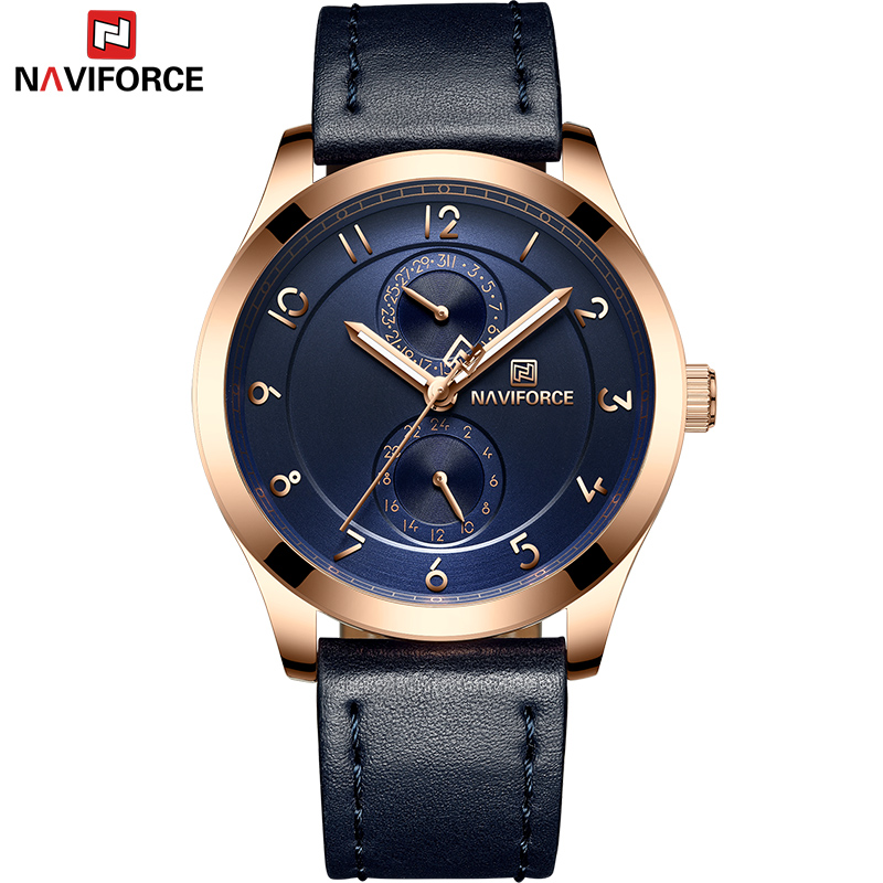 NAVIFORCE Top Brand Luxury Men Business Quartz Watches Men Fashion Sports Genuine Leather Watch Male 24 Hour Date Analog Clock mike davis knight s microsoft business intelligence 24 hour trainer
