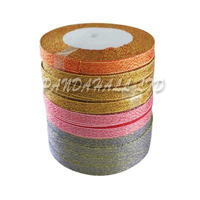 Valentines Day Gifts Boxes Packages Sparkle Organza Ribbon, Mixed Color, 9mm wide, about 25yards/roll, 10rolls/group