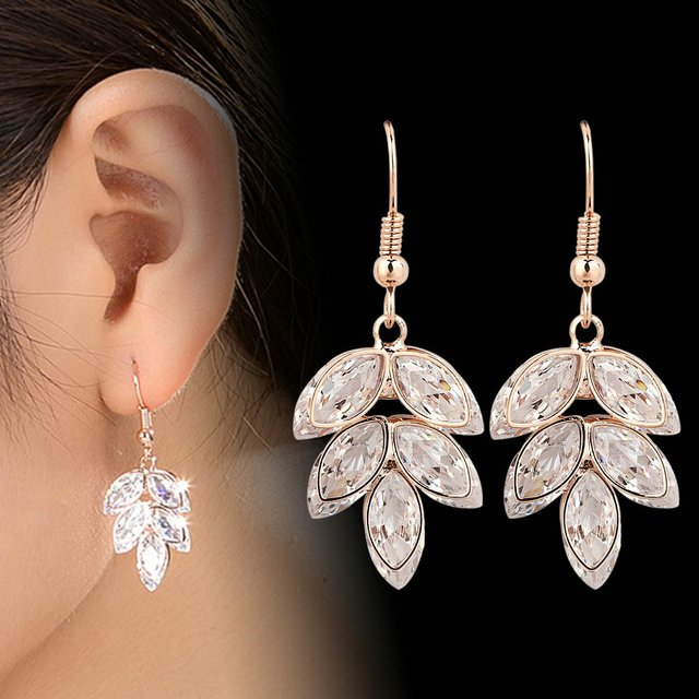 Dangle Rose Crystals Zircon Earrings