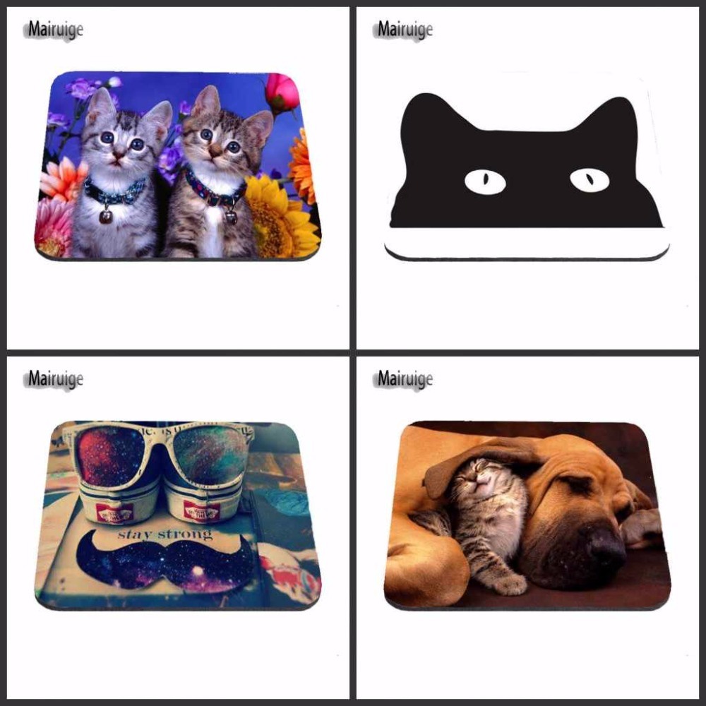 Mairuige Mischievous Cat Mouse Pad Fashion Computer Notebook Gaming Mice Mat 18*22cm and 25*29cm And 25*20cm Mouse Mat