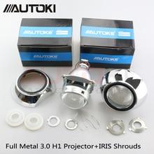 Autoki Car Styling Full Metal 3.0 inch HID Bi-xenon Headlight Projector Lens Fits Car headlight H4 H7 LHD RHD With Iris Shrouds цена