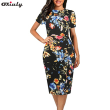Oxiuly 2018 New Multicolor Ruffle Print Pencil Dress Scoop Neck Short Sleeve Sheath Summer Female Wear to Work