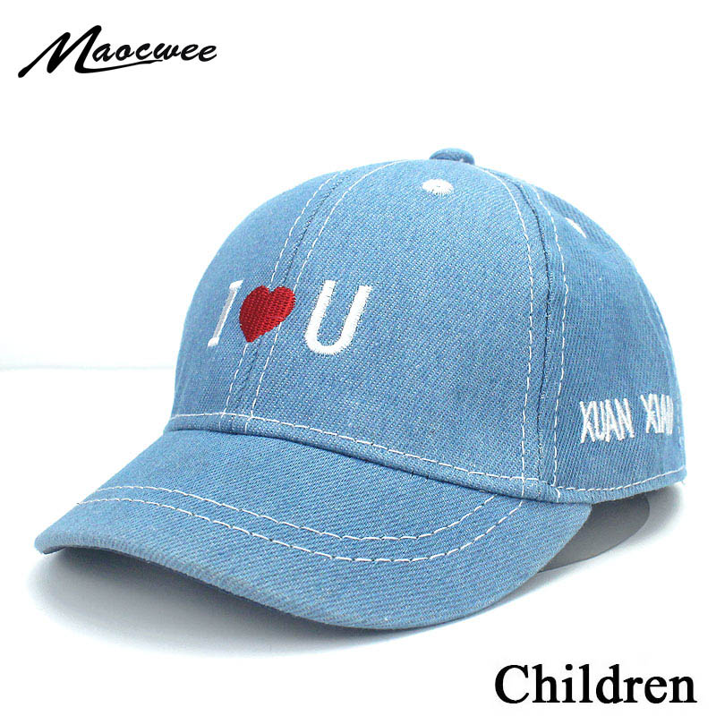 Sun Snapback Casquette Blue 2020 Jean Casual Hip Hop Letter Denim Children Dad Hat Cap Summer Toddler Kids Boys Baseball