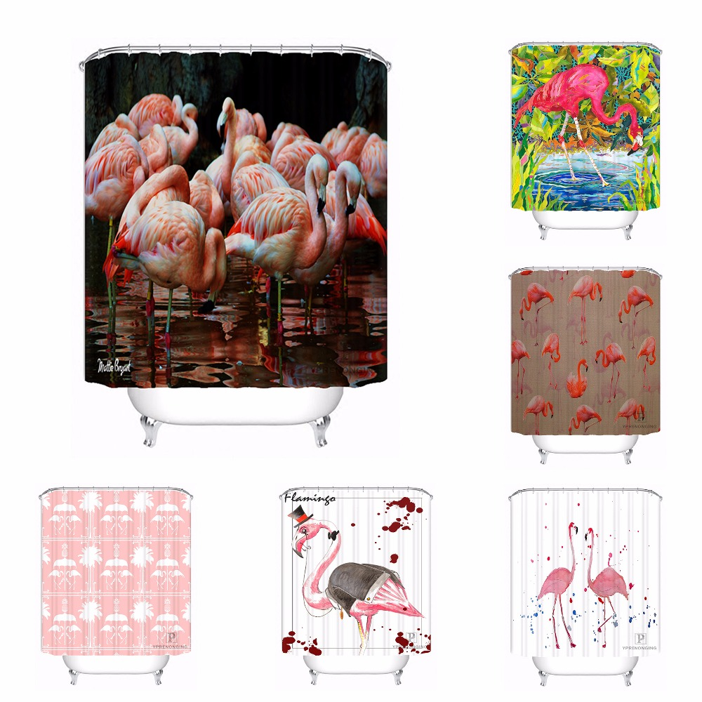 Home Bath Curtain For Bathroom Custom Cartoon Pink Flamingos Home Decor Shower Curtain Waterproof Fabric Hooks #180417-01-89