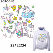 ZOTOONE Colorful Unicorn Iron on Patch Clothes Cartoon Animal Patches for Clothing Diy Heat Transfer Decors Washable Applique
