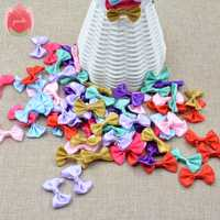 3cm 20pcs/lot Silk Bow-Knot Mini Rosette for Home Wedding Party Ribbon Cake Clothing Decoration Scrapbooking DIY Crafts Supplies