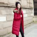 Chaqueta de invierno Mujeres Largo Con Capucha de Piel de Invierno Mujeres de la Capa de Algodón Acolchado Chaqueta de la Capa Parka Para Mujer Chaquetas de Invierno Y Abrigos