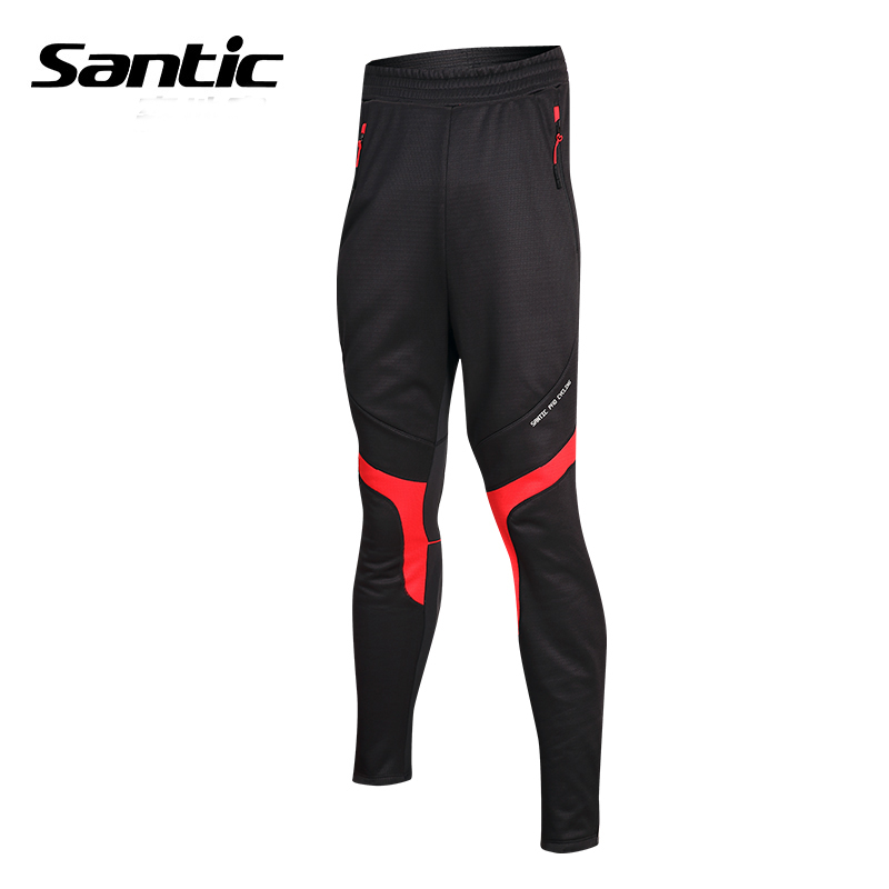 SANTIC Winter Thermal Cycling Pants Man Anti-sweat Quick Dry Sports Pants Autumn Riding Bicycle Bike Cycling Clothing Trousers