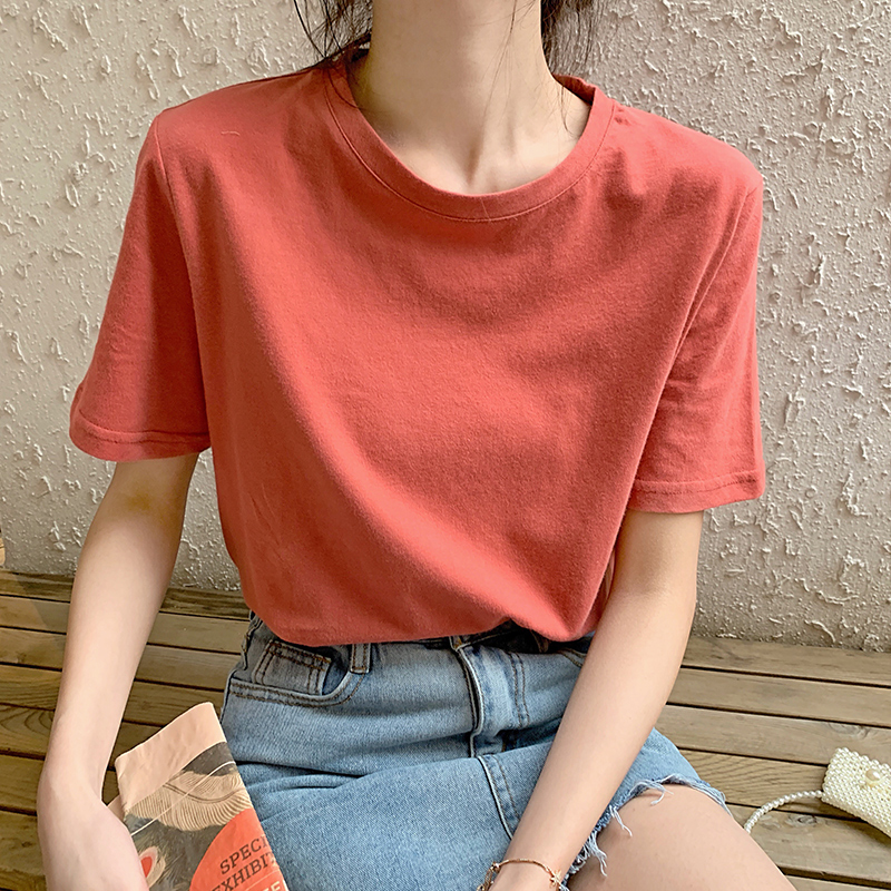 Fashion  Summer New Cotton Student Loose Wild Women Style  Short-sleeved T-shirt