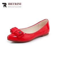 RIBETRINI New Women S Patent Leather Flat Solid Shallow Bowtie Shoes Woman Casual Comfortable Sweet Flats