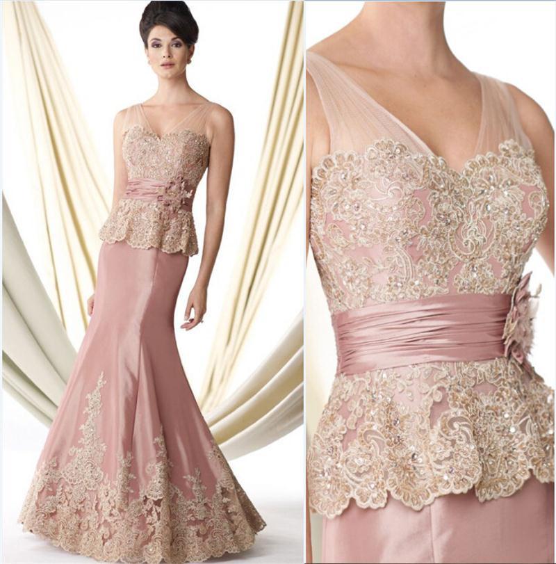 Elegant-Light-Pink-1vestido-de-madrinha-Mother-Of-the-Bride-Dress-Mermaid-Appliqued-Lace-Women-Summer