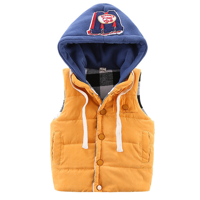 Children S Early Spring Vest Boys Outdoor Cotton Warmer 1 5 Years Young Kids Hooded Jacket