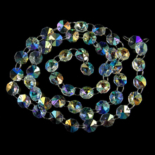 AB Crystal Octagon Garland Strands chains 5m Chandelier Part Wedding Garland Chains For Curtain Window Adornment free shipping top quality customized crystal glass beads garland strands diy crystal curtain for home decoration 22 1 2m lot