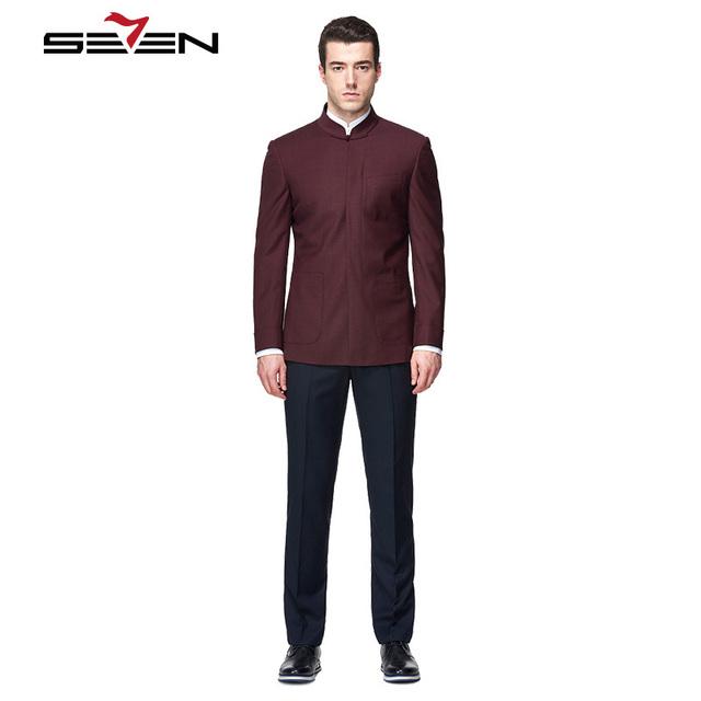 Seven7 Marca Os Homens Se Vestem Ternos de Estilo Chinês Custom Made Ternos Gola Mandarim Blazer Tops Moda Elegância Sólido de Alta Qualidade