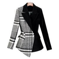 Fashion plaid woolen suit spring new professional retro plaid velvet business small suit short jacket female women Blazers women