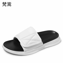 slippers men magic sticker thick-soled sandals open-toed anti-skid one word drag fender summer genuine leather