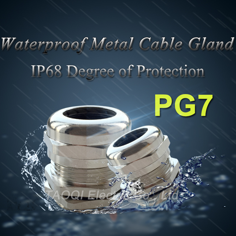 1piece PG7 Nickel Brass Metal IP68 Waterproof Cable Glands Connector Wire Glands for 3-6.5mm cable image