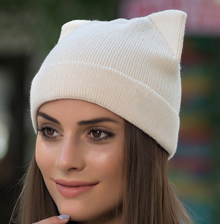 72d4536f 2018 New Winter Cat Ears Hat Women Knitted Wool Beanie Hats For Girls Cute  Beanies Caps With Ear Flaps -in Skullies & Beanies from Apparel Accessories  on ...
