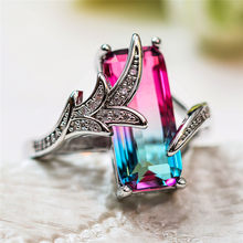 Cute Fashion Female Crystal Rainbow Ring 925 Silver Red Green Stone Wedding Rings For Women Fashion Bridal Love Engagement Ring(China)