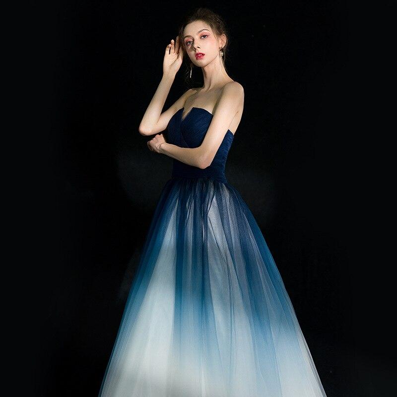 New Elegant Blue Breast Dress Bridesmaid Dress 2019 Long Formal Wedding Party Prom Dresses robe de soiree vestido de noiva in Bridesmaid Dresses from Weddings Events