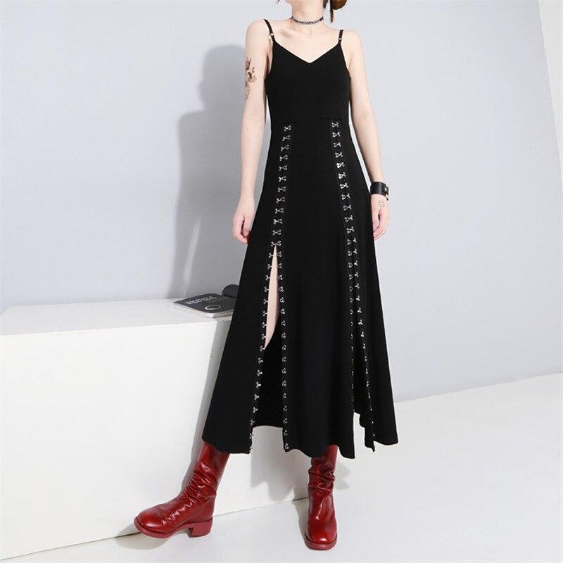 ダークゴシックスタイルのドレス 2019 新しい女性金属フックスプリットハイウエスト Sress 黒背中のドレスセクシーな V ネックロングパーティードレス  グループ上の レディース衣服 からの ドレス の中 1