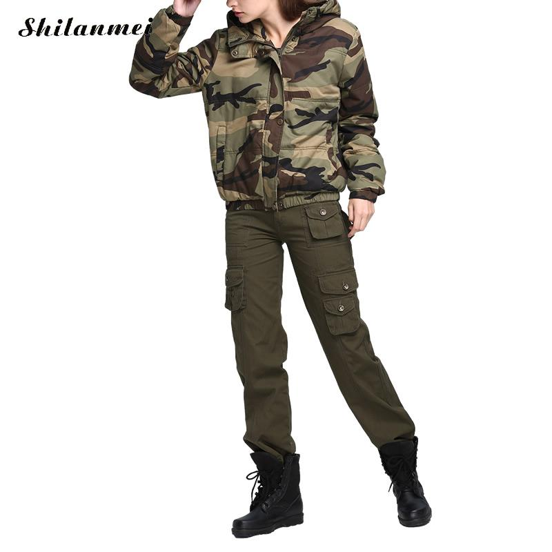 Womens Jackets and Coats Plus Size Hooded Camouflage Army Green Jacket Windbreakers Outerwear for Women Veste Militaire Femme