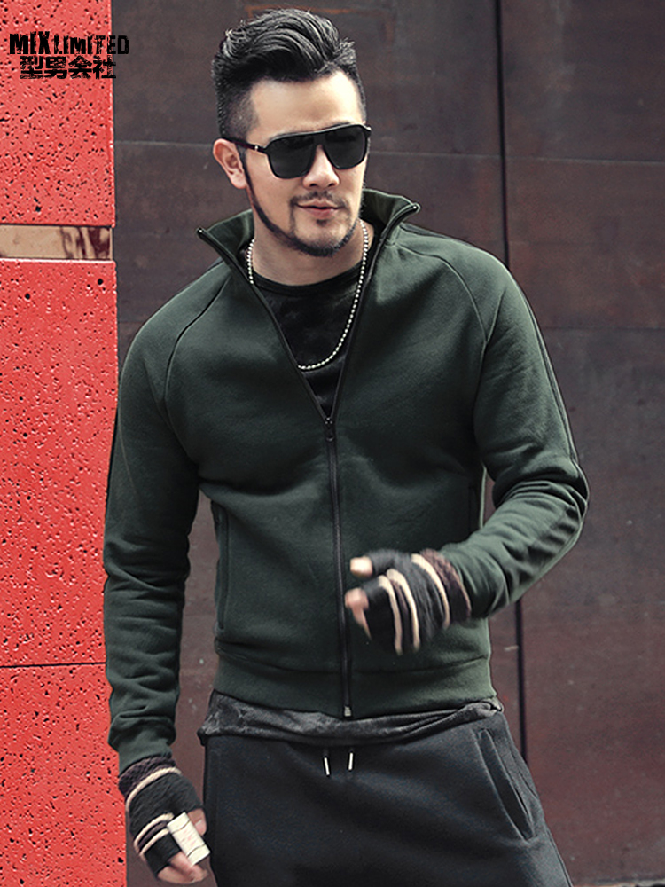 Fleece Lining Thickening Men Slim Short Stand Collar Sweatshirt Men Zipper Sportswear Sweatshirt Casual Cotton Jacket F8195