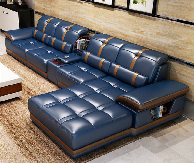 2020 Living Room Sofa set furniture real genuine cow leather sofas bluetooth puff asiento muebles de sala canape L shape sofa cama