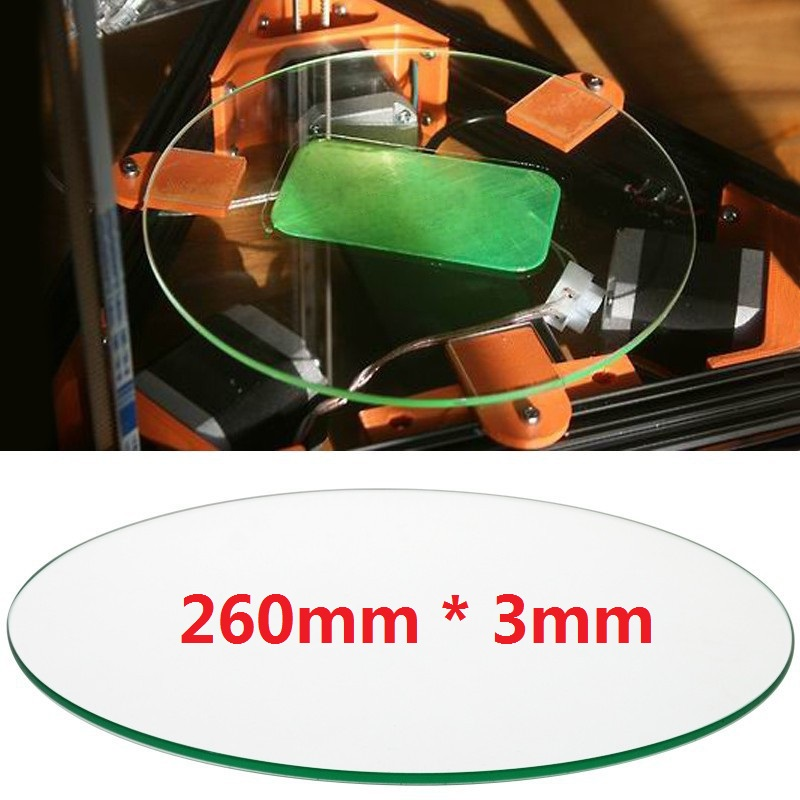 260mm * 3mm 3d printer glass plate Borosilicate Glass plate for Rostock delta KOSSEL 1pcs openbuilds slider gantry plate standard 65 65 3mm aluminum alloy cnc special slider plate for 3d printer