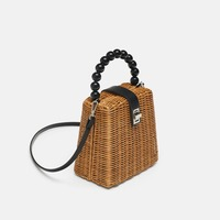 2019 Brand Designer bead hand woven straw bag women samll Tote Bags for Summer Travel Handle Bag Ladies Shoulder for Girl