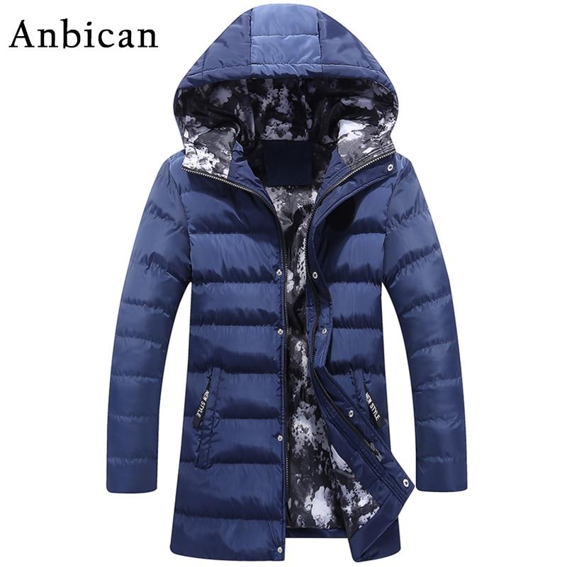 Anbican Fashion Blue Long Parka Jacket Men Slim Fit Warm Winter Jacket Men Hooded Windbreaker Down Parkas Coat Plus Size M-4XL