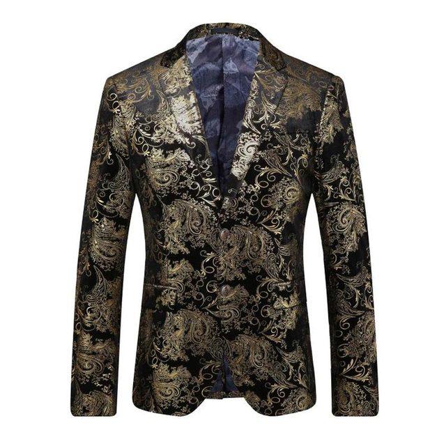 Blazers Chaquetas Hombres de la puesta en Escena de lujo Estampado de Flores de Oro Del Partido de Negocios Vestido de Boda Del Novio Traje de Chaqueta Chaqueta de Traje