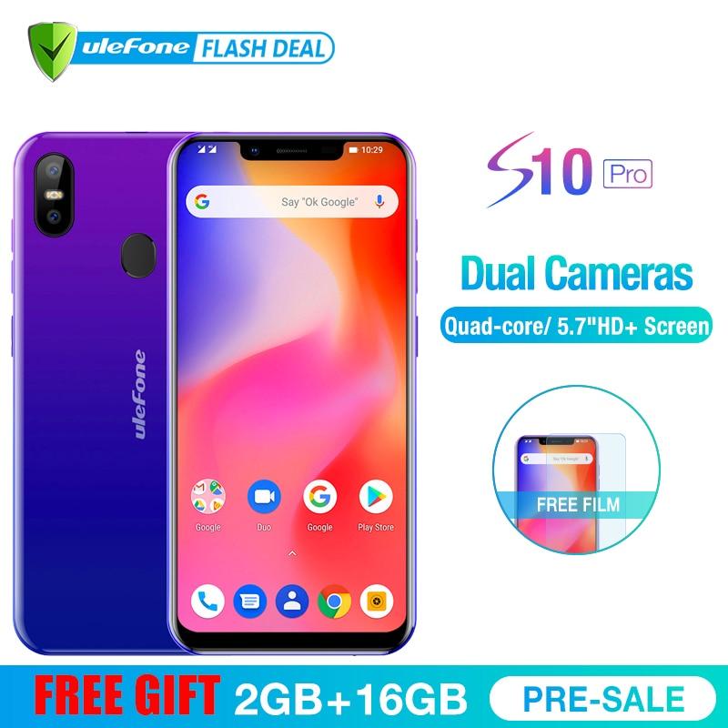 Ulefone S10 Pro мобильного телефона Android 8,1 5,7 дюйма MT6739WA 4 ядра 2 Гб Оперативная память 16 Гб Встроенная память 16MP + 5MP Сзади Двойной Камера 4G смартфон