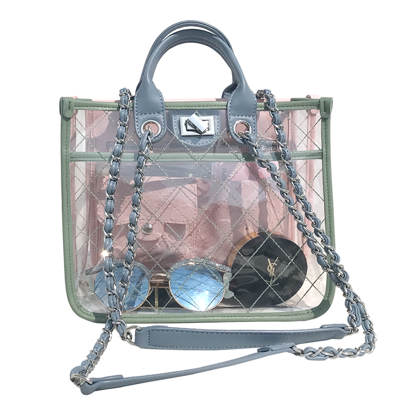 2018 New Show Transparent Women Chain Messenger Bag Beach Jelly Female Designer Shoulder Bag Cute Handbag Casual Totes 990 new arrival fashion color stitching simple silver buckle casual chain handbag women s shoulder bag across body messenger totes