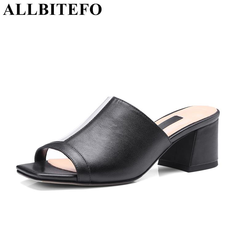 ALLBITEFO full genuine leather square toe thick heel women sandals 2018 summer mixed colors high heels women Slipper flip flops top quality wholesale price slipper mixed color thick high colorful spike heels fashion sexy women summer sandals free shipping
