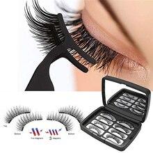 8pcs 3D Magnetic Eyelashes with 2/3 Magnets Handmade Lashes Natural False maquillaje  Tweezer