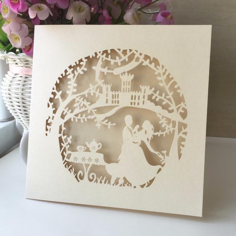 12pcs Handmade Folded Postcard Wedding Invitations Card Vintage ...