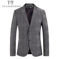 TIAN QIONG 2018 New Spring Fashion Blazer Mens Casual Jacket Grey Plaid Men Blazer Jacket Men Classic Mens Suit Jackets Coats