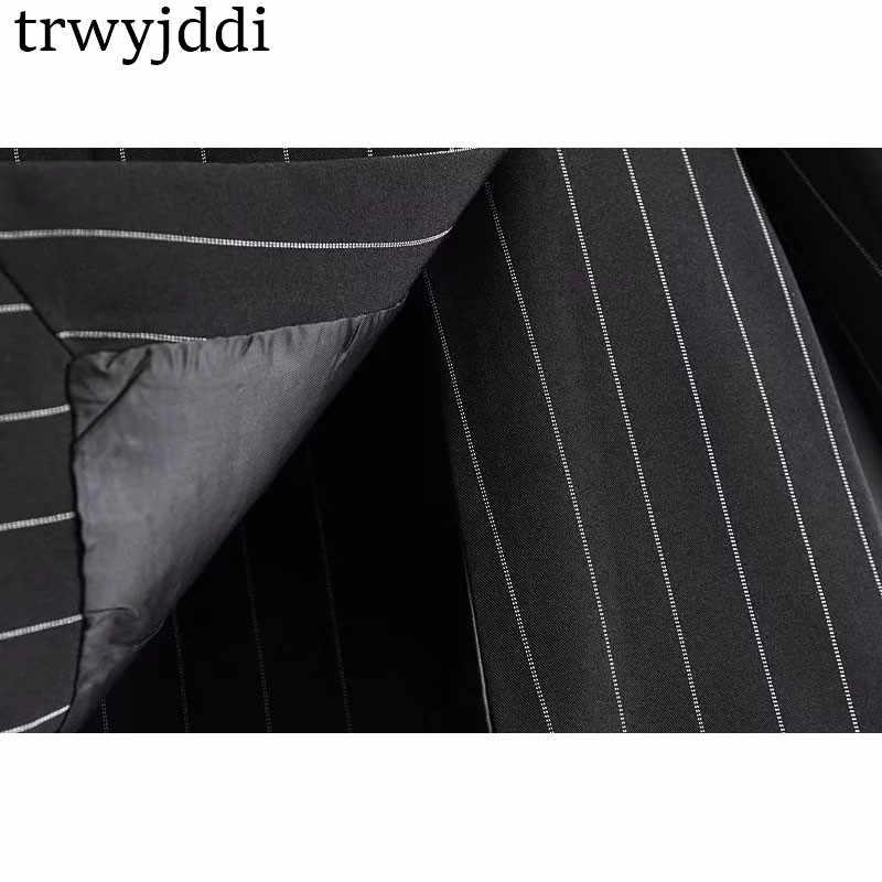 Ropa de ocio para mujer cuello de muesca OL Blazer a rayas 2018 chaqueta Casual Tops 2018 primavera otoño Blazers largos Oficina señora hl244