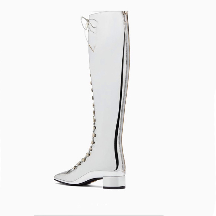 punk style sliver riding boots lace up Mirror low heels boots women cut-out knee high boots 2018 autumn cross-tied ladies shoes punk style pure color hollow out ring for women