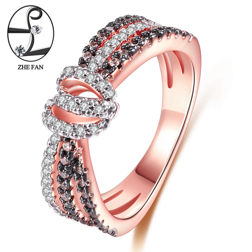 ZHE FAN Love Knot Women Engagement Wedding Ring Rose Gold Color Plated Coffee White AAA Cubic Zirconia Romantic Jewelry 3 Tone yoursfs brand luxury wedding engagement rings for women anel ballshape austria crystal 18 k rose gold plated aaa cubic zirconia g